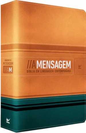 Bíblia a Mensagem - capa luxo laranja e verde beira prata