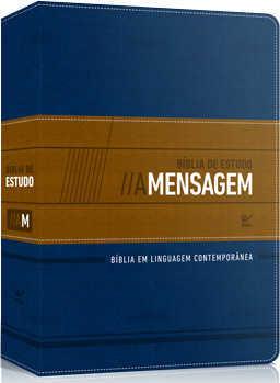 Bíblia de Estudo A Mensagem - CP de Luxo Azul e Bege