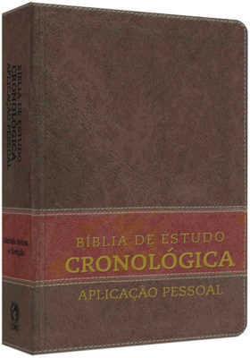 Bíblia de Estudo Cronológica Aplicação Pessoal - Capa Luxo Marrom Escuro e Marrom Claro