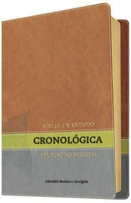Bíblia de Estudo Cronológica Aplicação Pessoal - Capa Luxo Marrom, Verde e Cinza