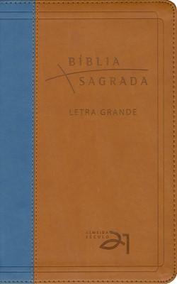 Bíblia Almeida Século 21 - Marrom e Azul - Letra Grande