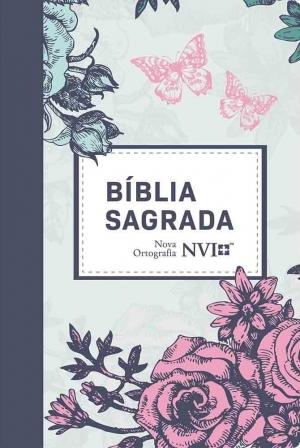 Bíblia Sagrada NVI - Novo Ortografia - Semi Luxo Lilás Floral